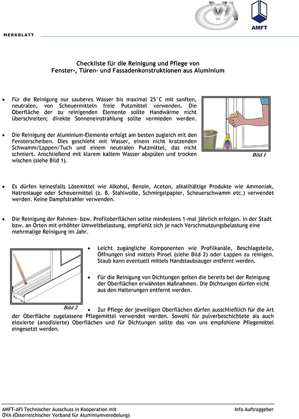 Aluminium Fenster Institut - Pulverbeschichtung - Wartung und Pflege